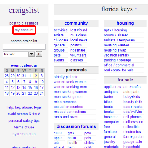 Go to account in Craigslist