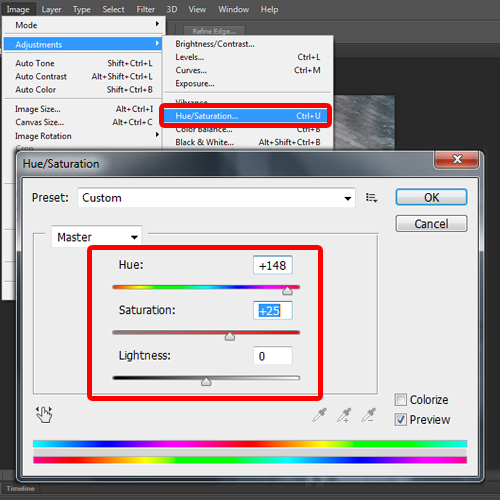 adjusting the hue and saturation adjustment filter