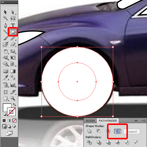 using the ellipse tool to create tires