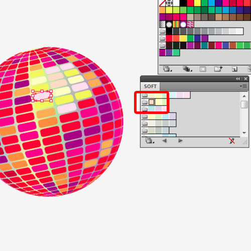 changing colors of the rectangles within the sphere