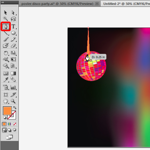 merging the disco ball with the poster