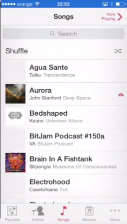 "opening ""Music"" app on iPhone running on iOS 7"