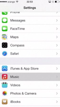 "tapping ""Music"" section of ""Settings"" on iPhone running on iOS 7"