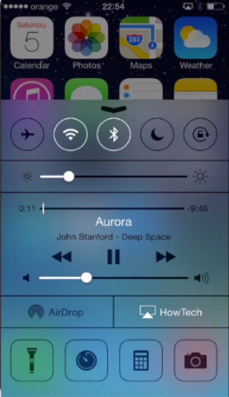 accessing music player via the Control Center on iPhone running on iOS 7
