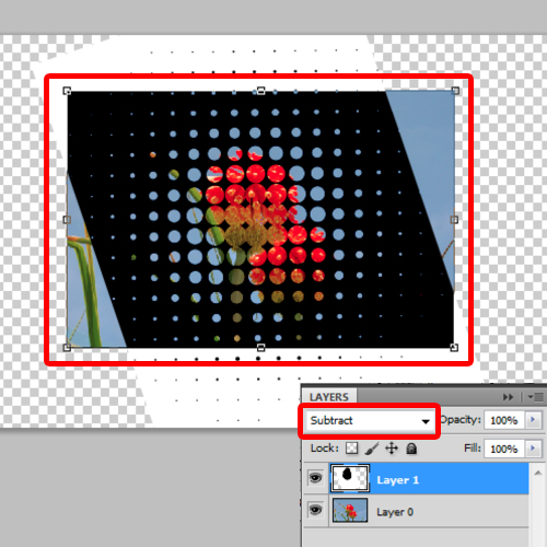 change the halftone layer mode to subtract