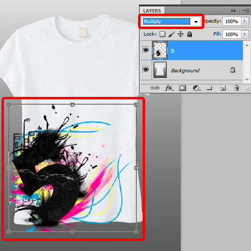 pasting the design on a t-shirt