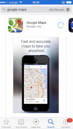 downloading Google Maps app from App Store on iPhone running on iOS 7