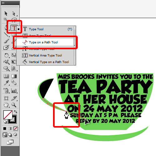 creating shapes and adding text over the cup handle