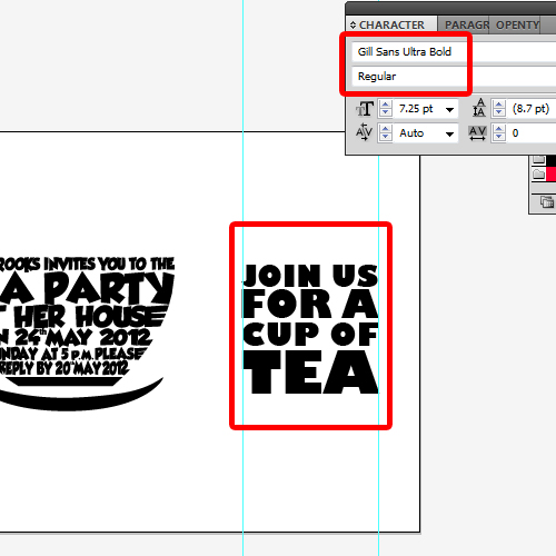 adding more text to the invitation card