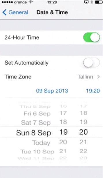 changing time on iPhone running on iOS 7