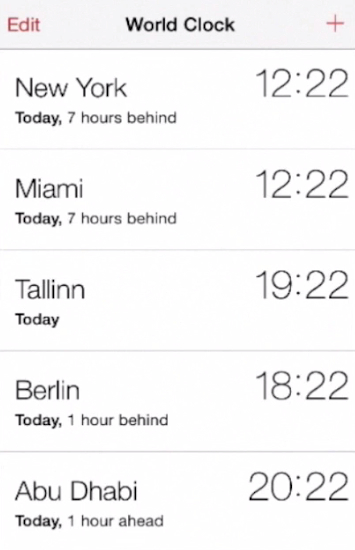 adding new time zone on iPhone running on iOS 7