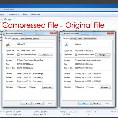 Check the size reduction of the compressed file