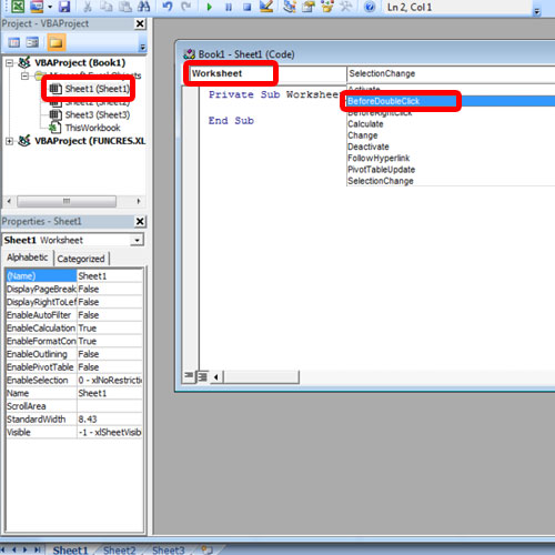 Select the current sheet with event handler