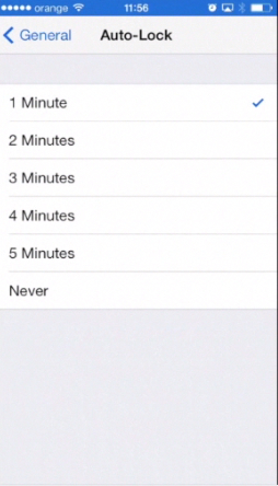 choosing Auto-Lock time settings on iPhone running on iOS 7