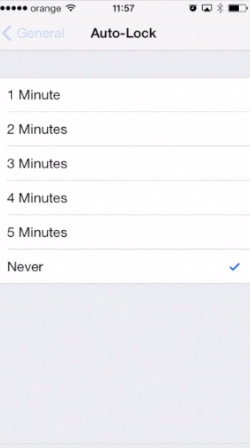 """Setting Auto-Lock feature to """"Never"""" on iPhone running on iOS 7"""