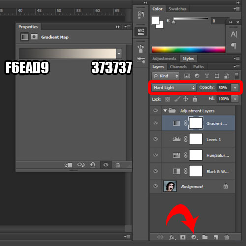adding the gradient map adjustment layer
