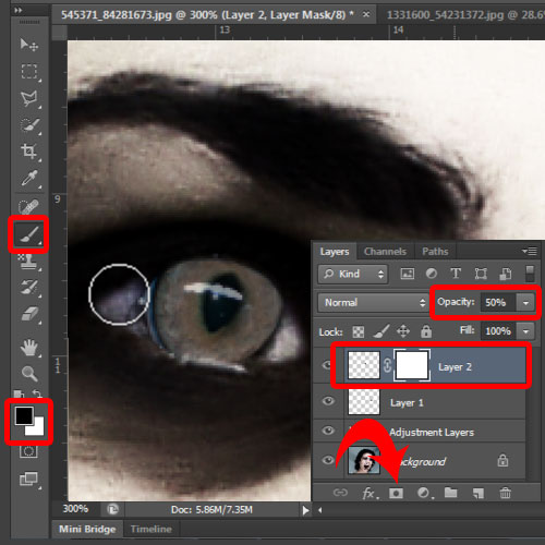 blending the cat eyes with the original image