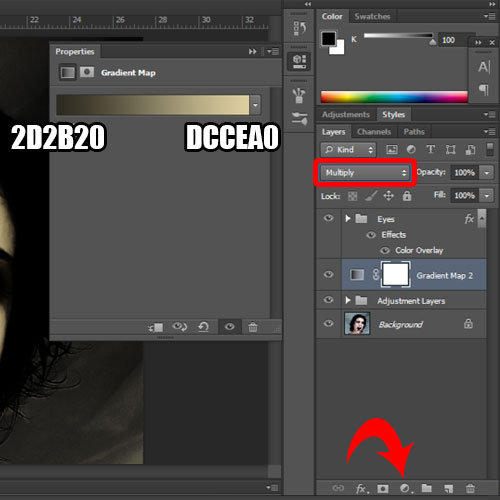 changing the background color using the gradient adjustment layer