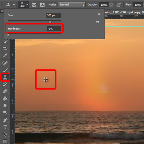 applying the stamp tool to remove the sun from the extracted frame