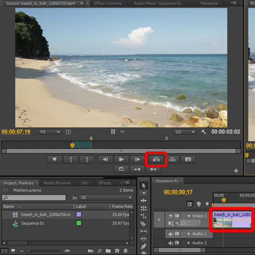 adding the marked clip in the sequence