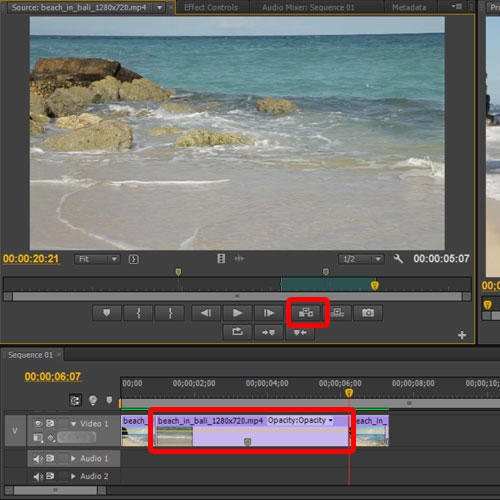 inserting footage in between clips