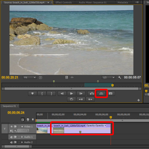 replacing the footage in the sequence
