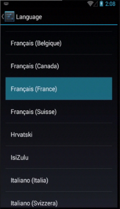 Selecting the new language