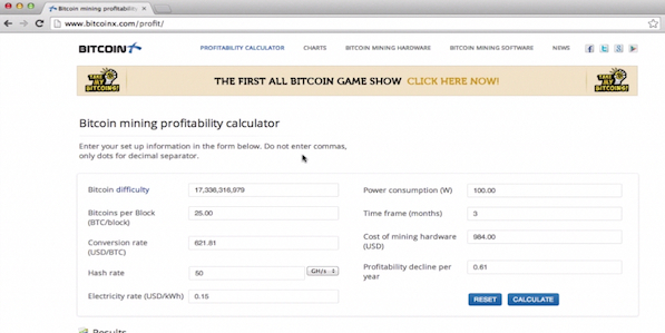 using Bitcoin mining calculator