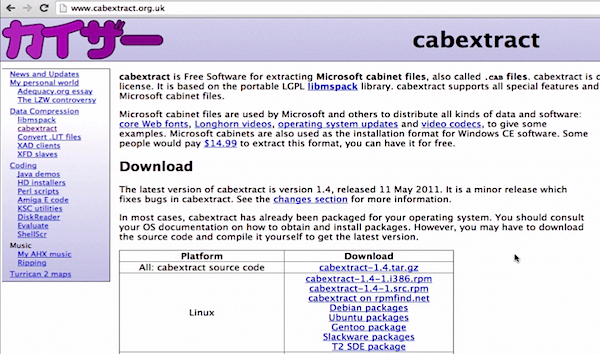 the webpage of Cabextract software