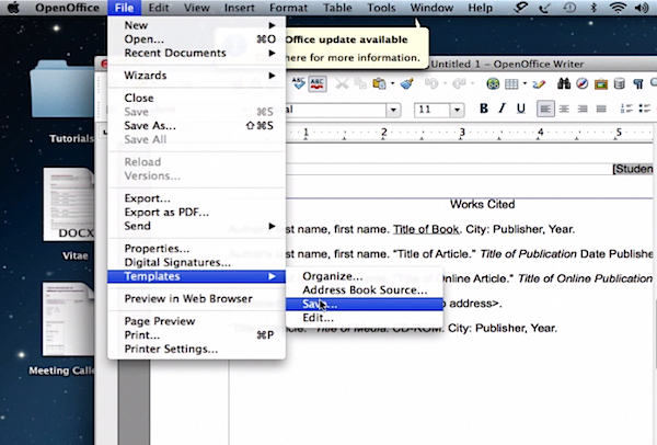 saving the new template in Open Office on a Mac