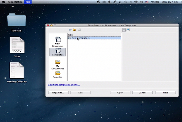 opening the  newly created Open Office template on a Mac