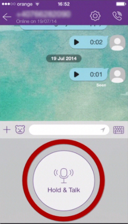 recording the voice message in Push-To-Talk mode on Viber
