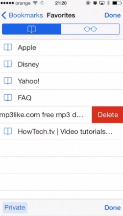 deleting bookmarks on iPhone running on iOS 7