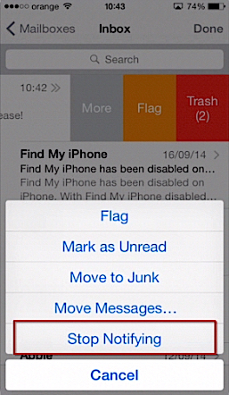 Stopping notification from a chosen email thread in iOS8