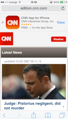 visiting CNN website using Safari app on iPhone running on iOS8