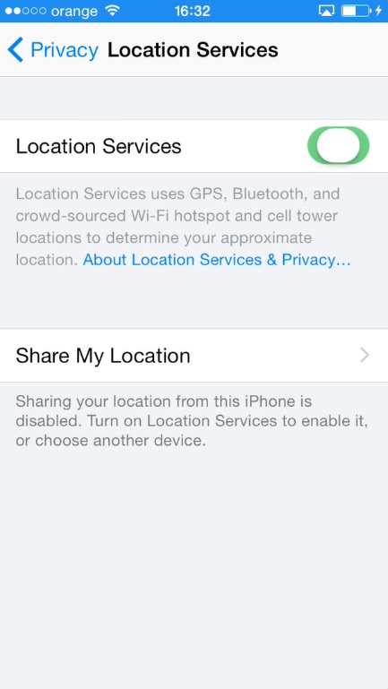 turning on Location Services in iPhone running on iOS8