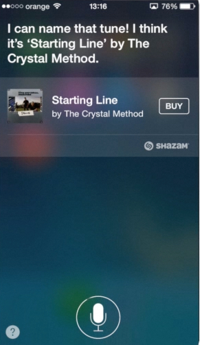Siri recognizing the song on iPhone running on iOS8