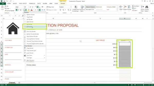 First just set up your Excel document