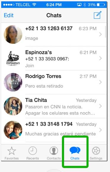 go to WhatsApp chats