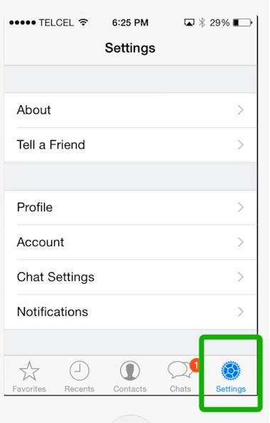 go to WhatsApp settings