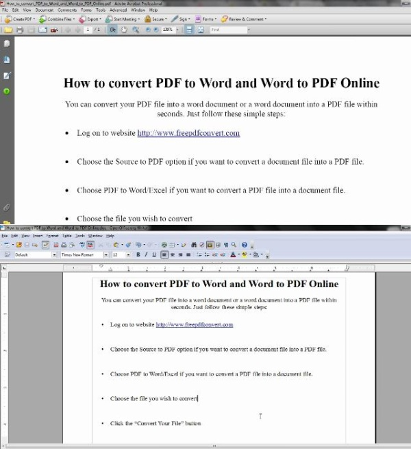pdf file comparison with doc file