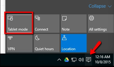 Switch Between Windows 10 Tablet