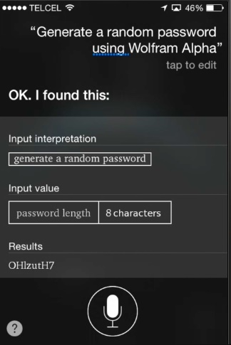 generate random passwords with Siri