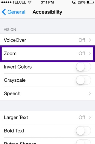 set up and use zoom in screen feature on iPhone