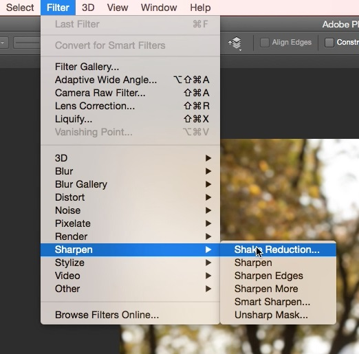 Reduce Blur Using Shake Reduction