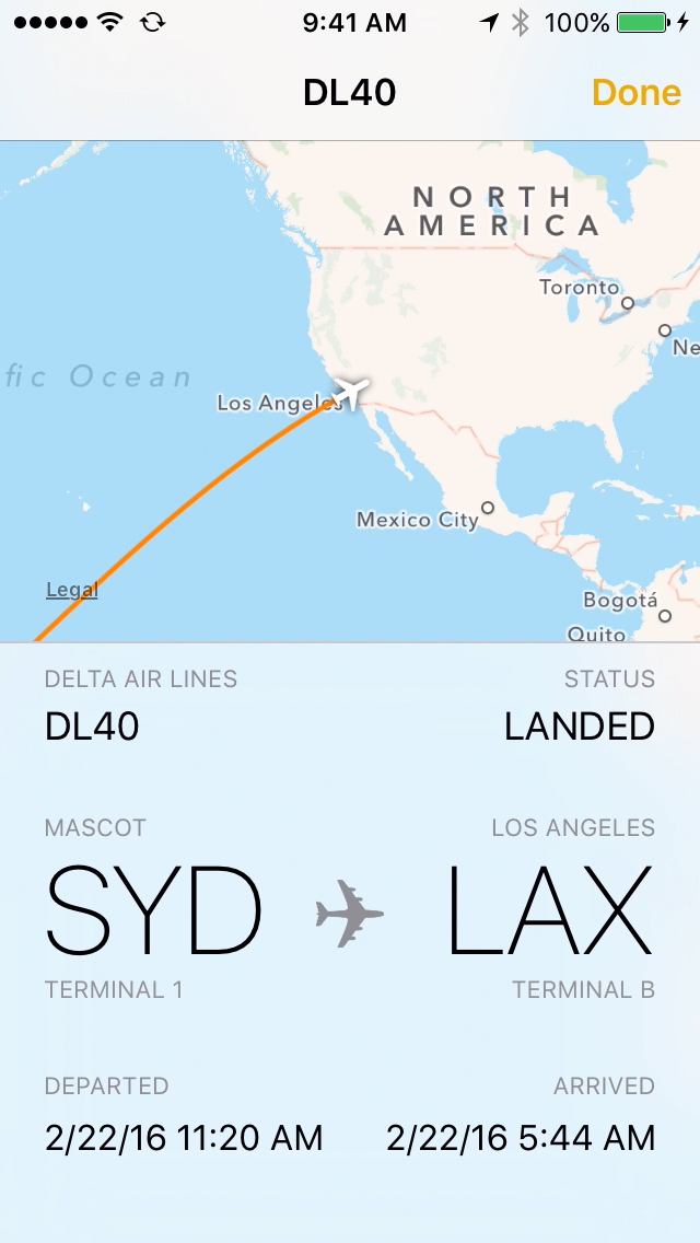 look up flight status app data on iPhone