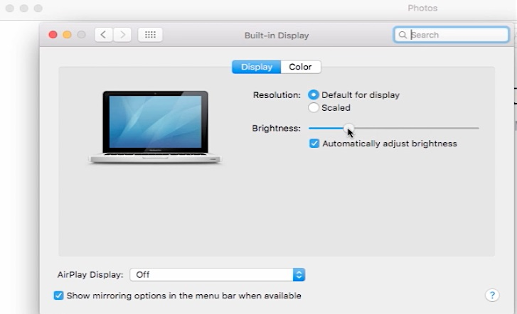 change the display using System Preferences