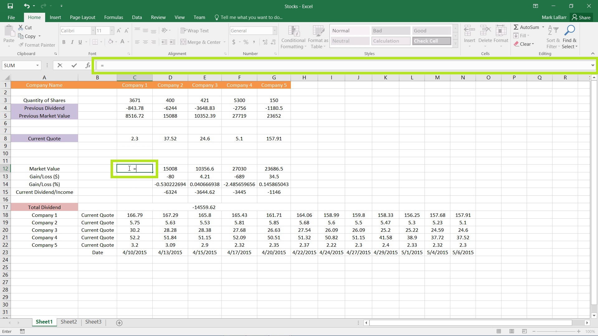 creating basic formulas in excel 2016
