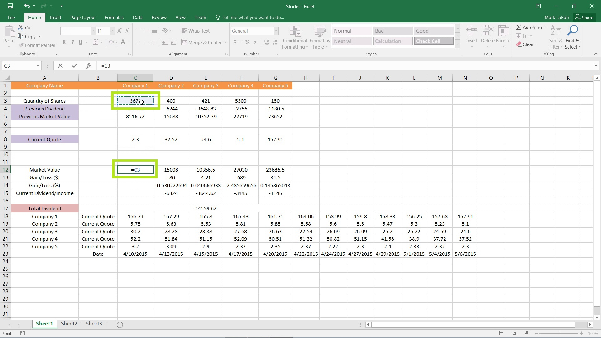 Basic Formulas in Excel 2016