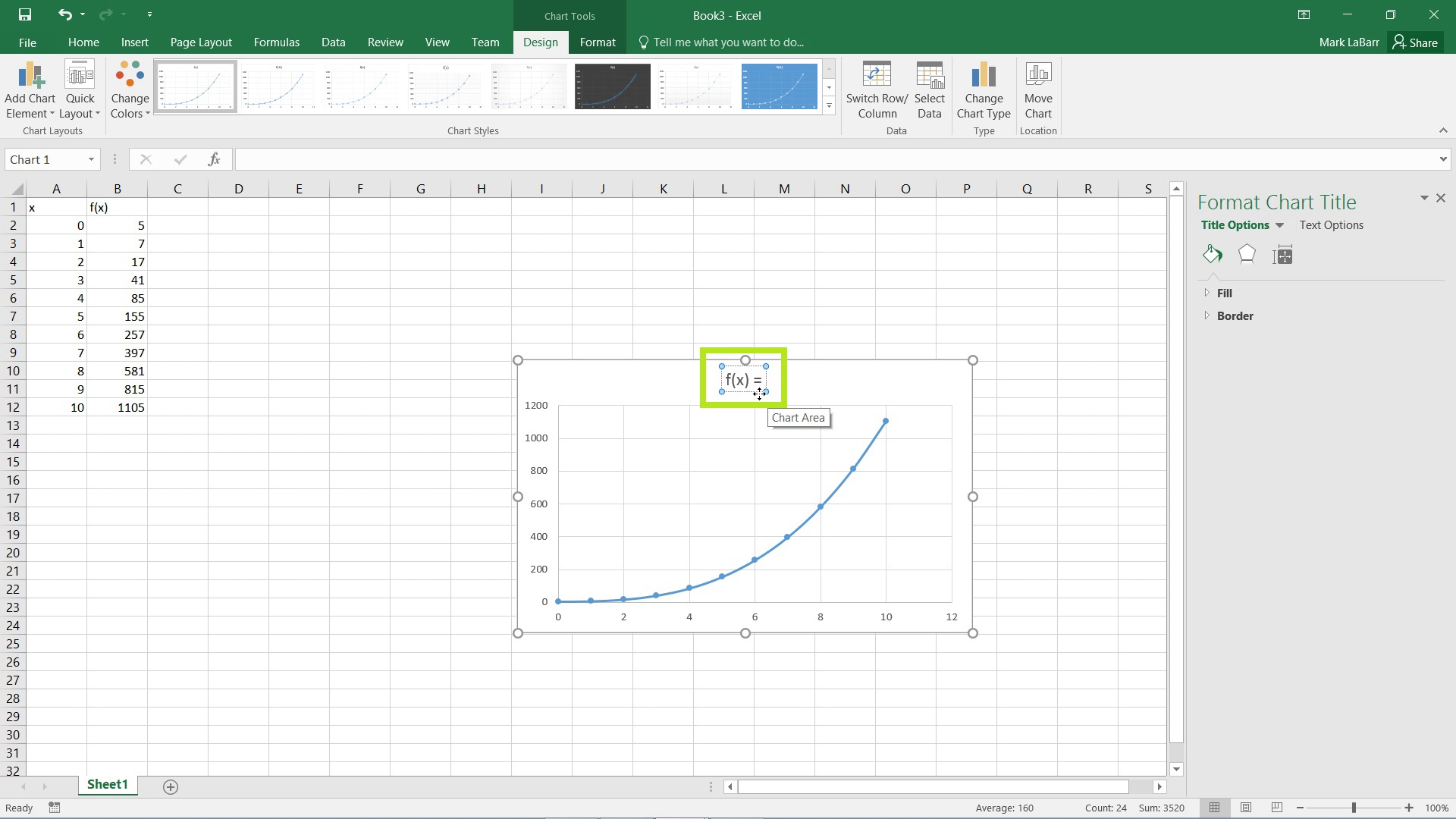 Graphing in Excel 2016
